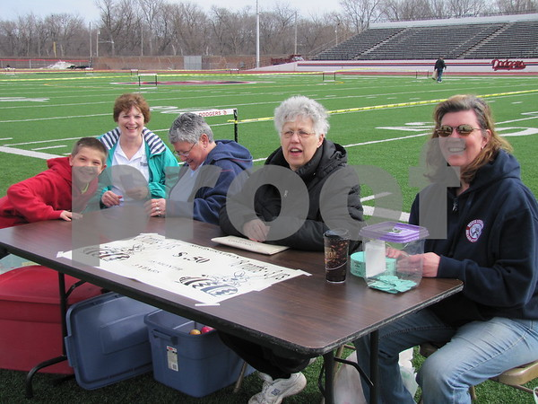 Judy Nepper, Jolene Hart, Carolyn Godfrey, and Janis Kuhn sell tickets at the Moose's annual Easter Egg Hunt.