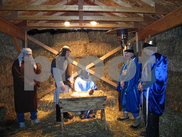 Members of Noon Sertoma portraying the nativity are Harold McGough (shepherd), Terry Allers (Joseph), Joleen Allers (Mary), Bob Nemitz and Ben Crimmins (wise men).