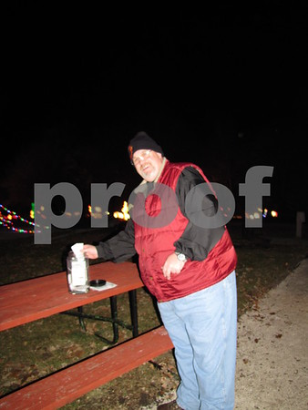 Steve Brown was in charge of collecting ballots for the public's favorite light display as they left the park.