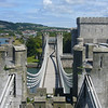 June 2011. Conwy, Wales. Looking across Telford's suspension bridge from the castle ramparts.
