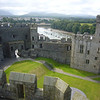 June 2011. Caernarfon Castle, Gwynedd, Wales. Looking out across the River Seiont towards the mountains of Snowdonia.