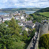June 2011. Conwy, Wales. The view from the highest point of the town walls, looking across the town towards the castle and the River Conwy.