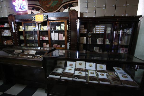 Inside the cigar shop.