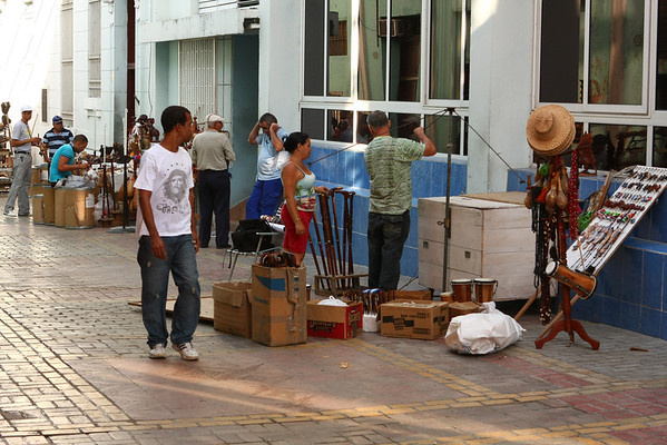 Merchants are preparing their stands.