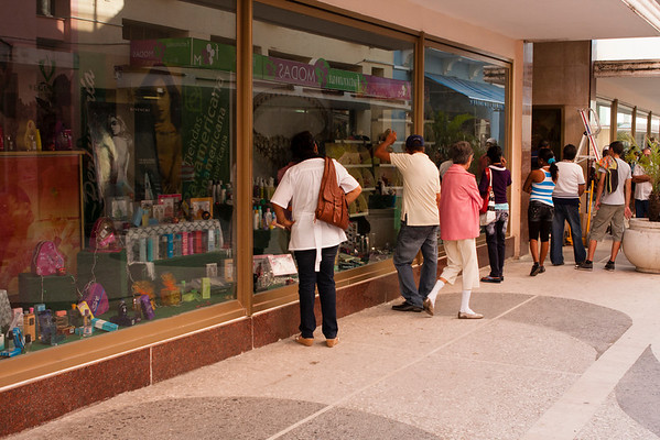 People waiting for the shop to open.