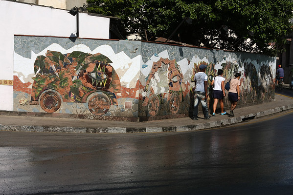 It's quite common to see paintings on walls or even mosaic.