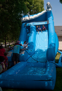 A special hit was the inflated water slide.