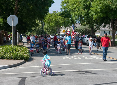 The parade route is around the block and then back to the party.