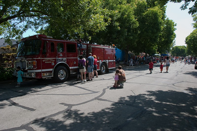 Kids lined up immediately to explore the fire truck.