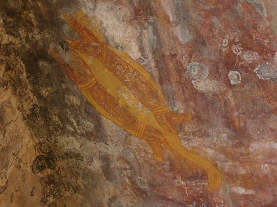 Aboriginal rock painting of a long-necked turtle at Ubirr, Kakadu National Park.