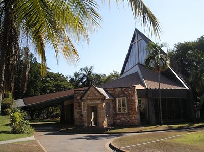 Christ Church cathedral, Darwin. The original cathedral built in 1902 was devastated by Cyclone Tracey (1974). The cathedral was rebuilt in 1975 and incorporates part of the original structure.