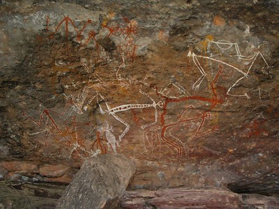 Aboriginal rock painting at Nourlangie, Kakadu National Park. The last member of the tribe who lived in this area died several decades ago. It is not known exactly what this picture depicts. Aboriginal elders from other tribes said it was a scene of a party. Take a close look, and make up your own mind!