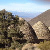 A view from behind the charcoal kilns.  We are facing northwest which means the tall mountain in the background are the Sierras.
