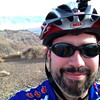 A self portrait of me with an overexposed Death Valley in the background.