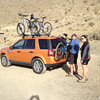 Christina and Forrest preparing to leave the campground which is near the Charcoal Kilns of Death Valley.