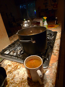 December Photo a Day - Day 27 - Night time  It's been cold and hot homemade turkey vegetable soup is a perfect dinner!!!