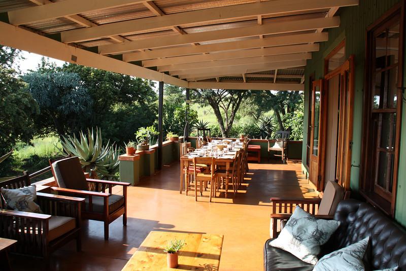The verandah of the lodge at Three Tree Hill
