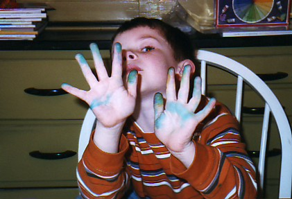 Lucas's stained hands from dyeing eggs. 2005