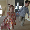 Emma and Nate practicing for their egg hunt