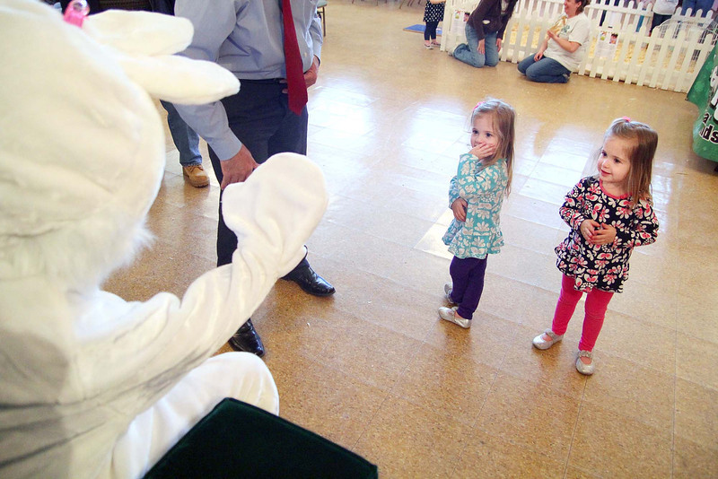 Peter Cottontail made a special guest appearance at City Hall on Thursday. The 4-H supplied real, live rabbits for kids to ogle and pet. There was coloring for young ones as well. Not getting to close to Peter Cottontail is Maya laprade and her twin sister Liliana, 2, at the event. SENTINEL & ENTERPRISE/JOHN LOVE