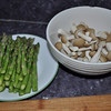 The meal was well prepped.  Asparagus + mushrooms from Whole Foods.  Yum.