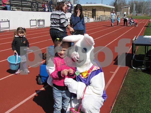 Olivia Brockman with the Easter Bunny.