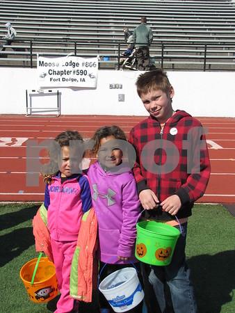 Emma and Ava Potter, and Oliver Meils before the Easter egg hunt began.