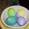 Delaney decorated these eggs. Nice colors Delaney.