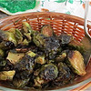 Brussel sprouts with balsamic vinegar and maple syrup.