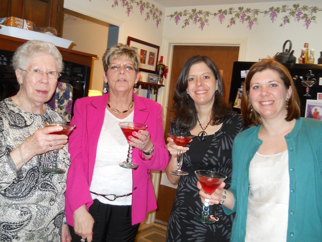 Nana, Becky, Cara and Ilsa toasting Easter