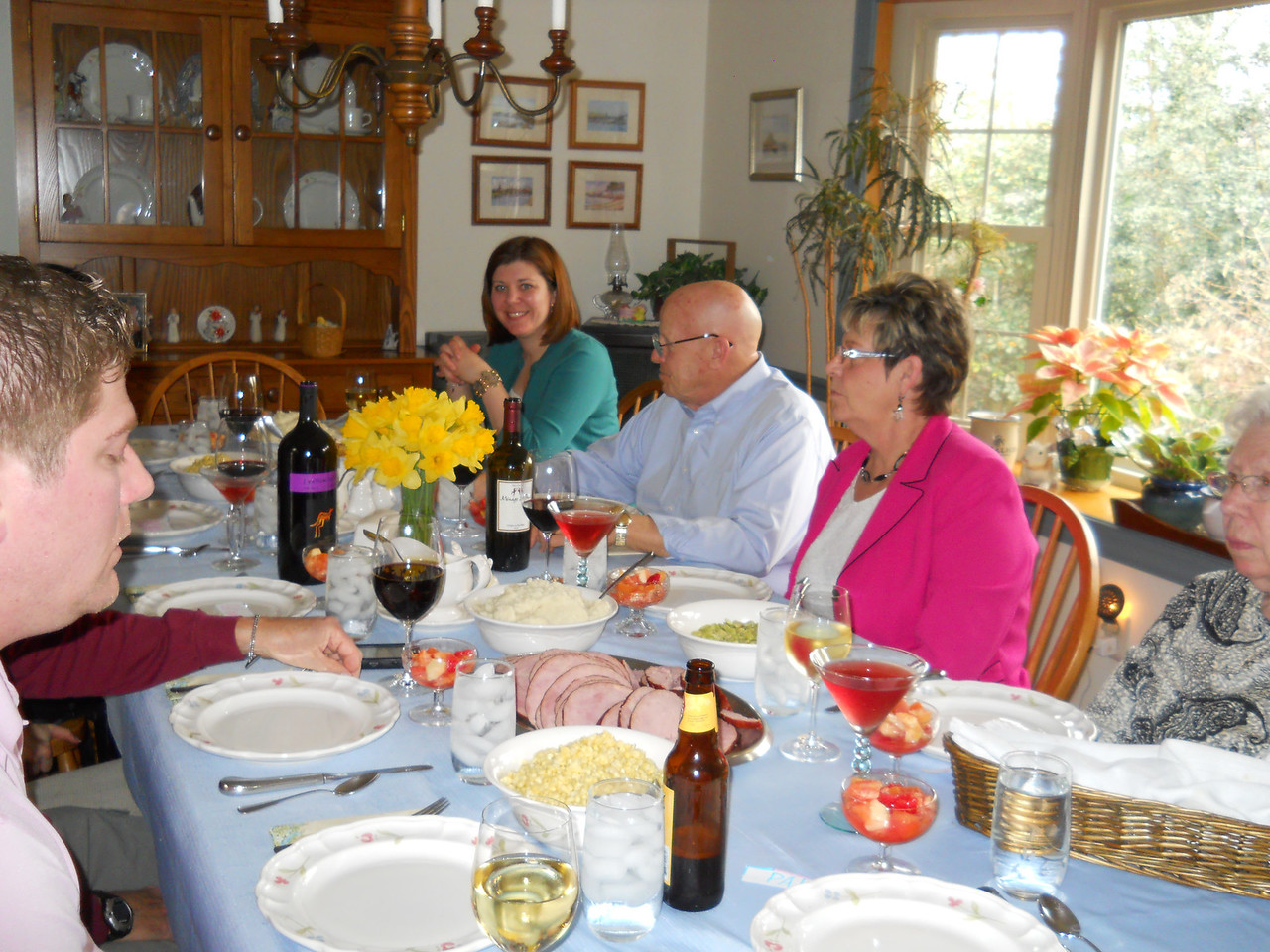 Feast time with Ilsa, John, Becky, and Nana, with Matt on the other side