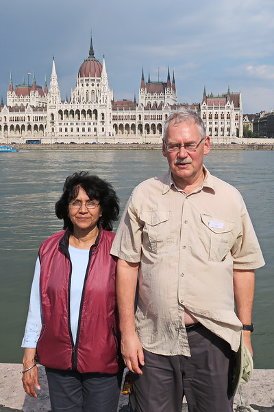 Hungary - Budapest - Cliff and Veena with Parliament Behind
