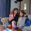 Dawn and Scout looking at what Santa brought them.