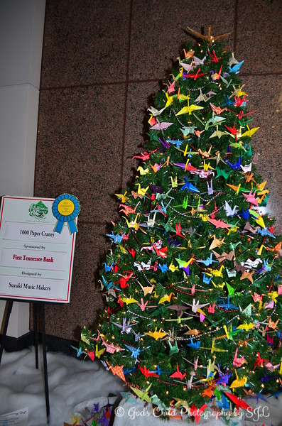 """1,000 PAPER CRANES""  - Sponsored by First Tennessee Bank, won 1st Place for ""Best Children's Tree""  Designed by Suzuki Music Makers  ""Enchanted Forest Festival of Trees"" 2012 Pink Palace Museum Memphis, TN"
