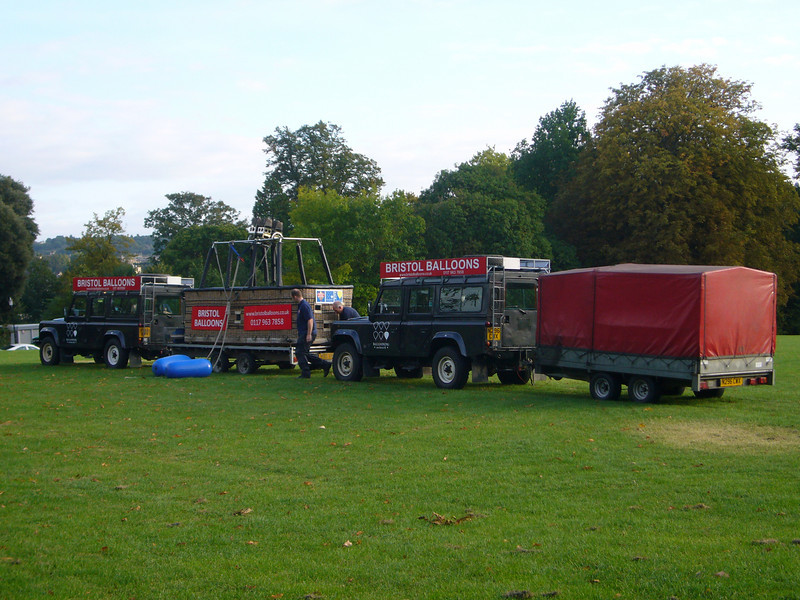 Getting ready - two landrovers, a basket and a balloon: about 120,000 pounds!