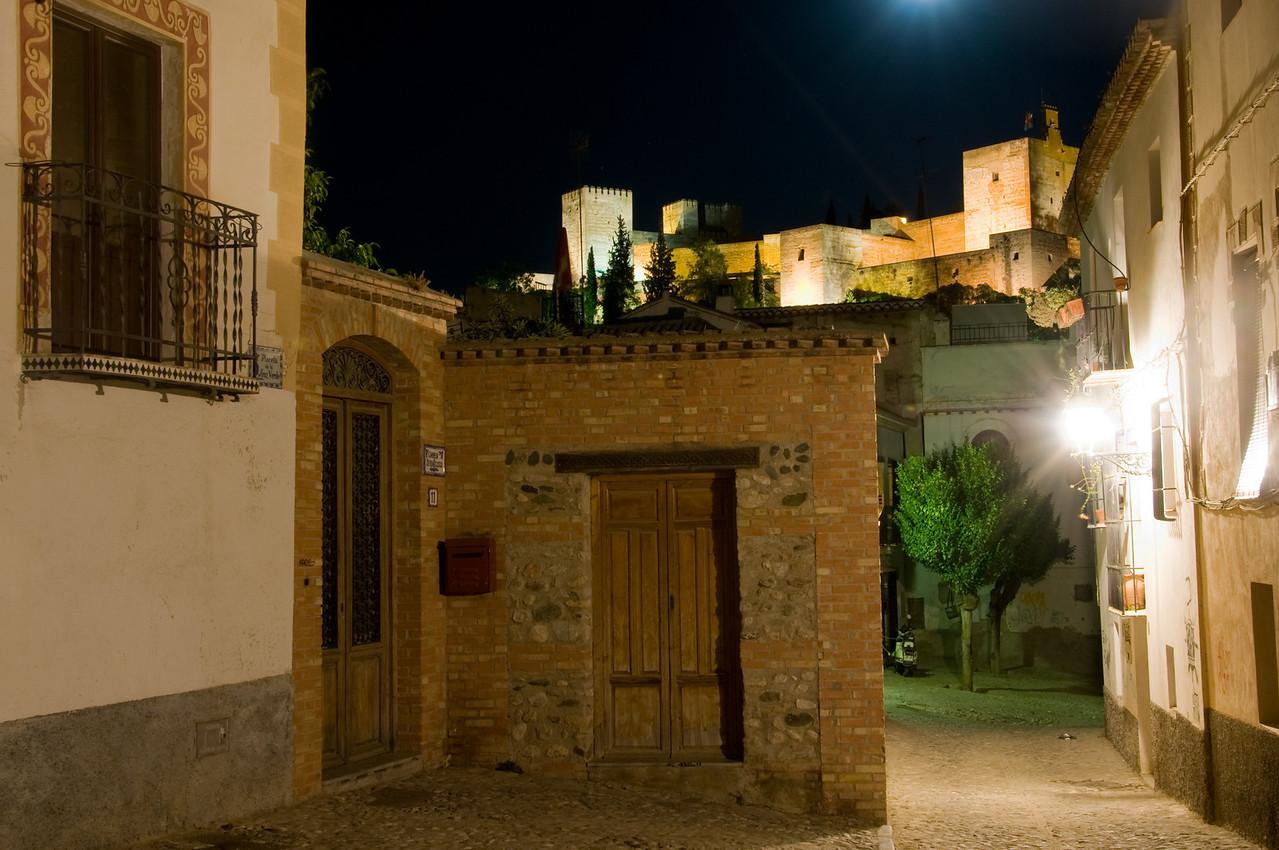 Night view of the alhambra from Mirador San Nicolas, Granada Spain