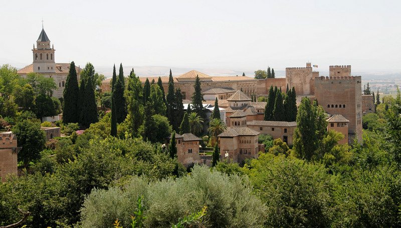 View of the alhambra from the gardens of Generalife