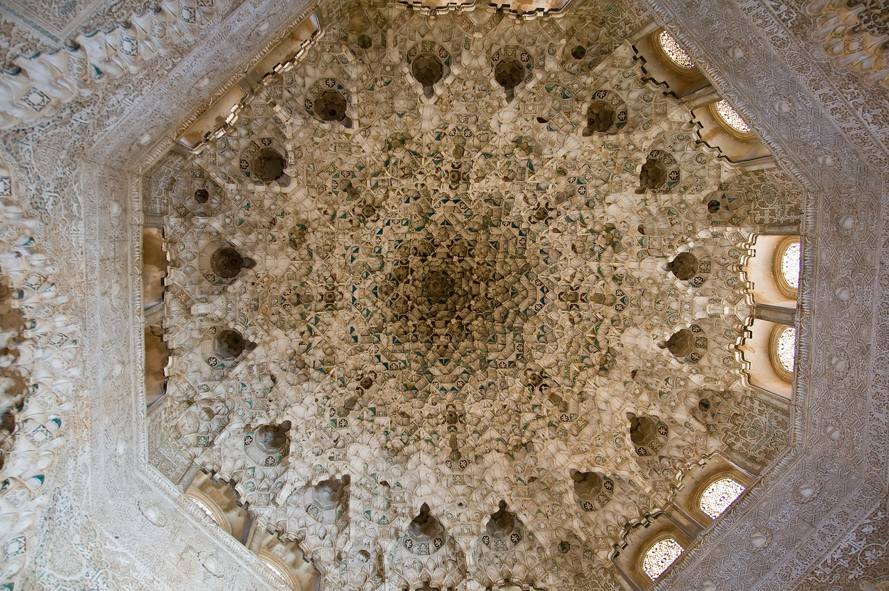 Incredible ceiling, inside the nasrid palaces, of the alhambra (Granada Spain)