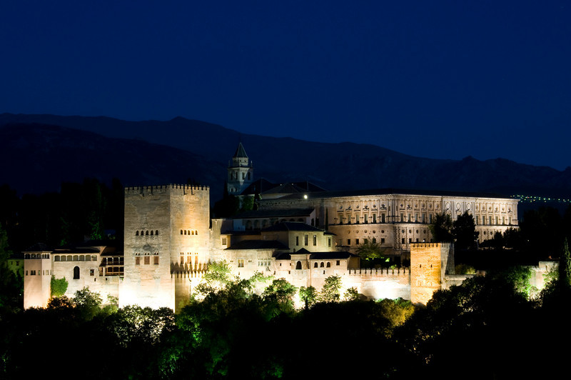 Night view of the alhambra from Mirador San Nicolas, Granada Spain