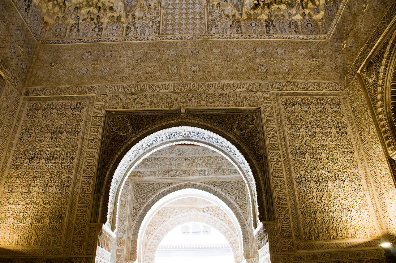 Inside the nasrid palaces, of the alhambra (Granada Spain)