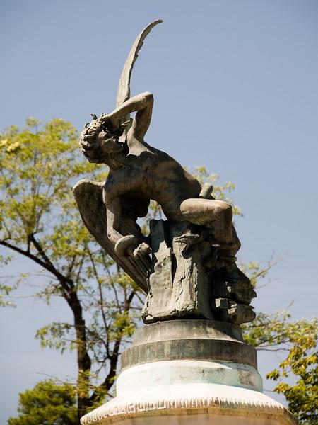 "El angel caido, madrid Spain. <a href=""http://es.wikipedia.org/wiki/Fuente_del_çngel_Ca'do""> wikipedia link</a>."