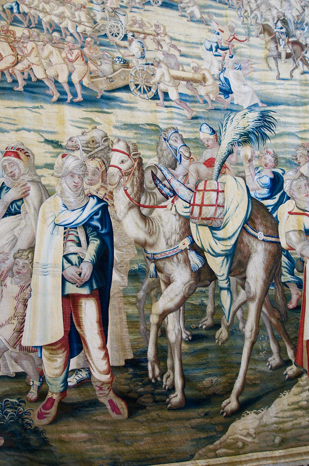 Detail of a tapestry Inside the alacazar, Sevilla, Spain.