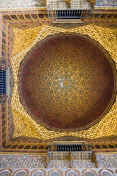 "Inside the alacazar, Sevilla, Spain. This (incredibly beautiful) ceiling is often called the ""half orange""."