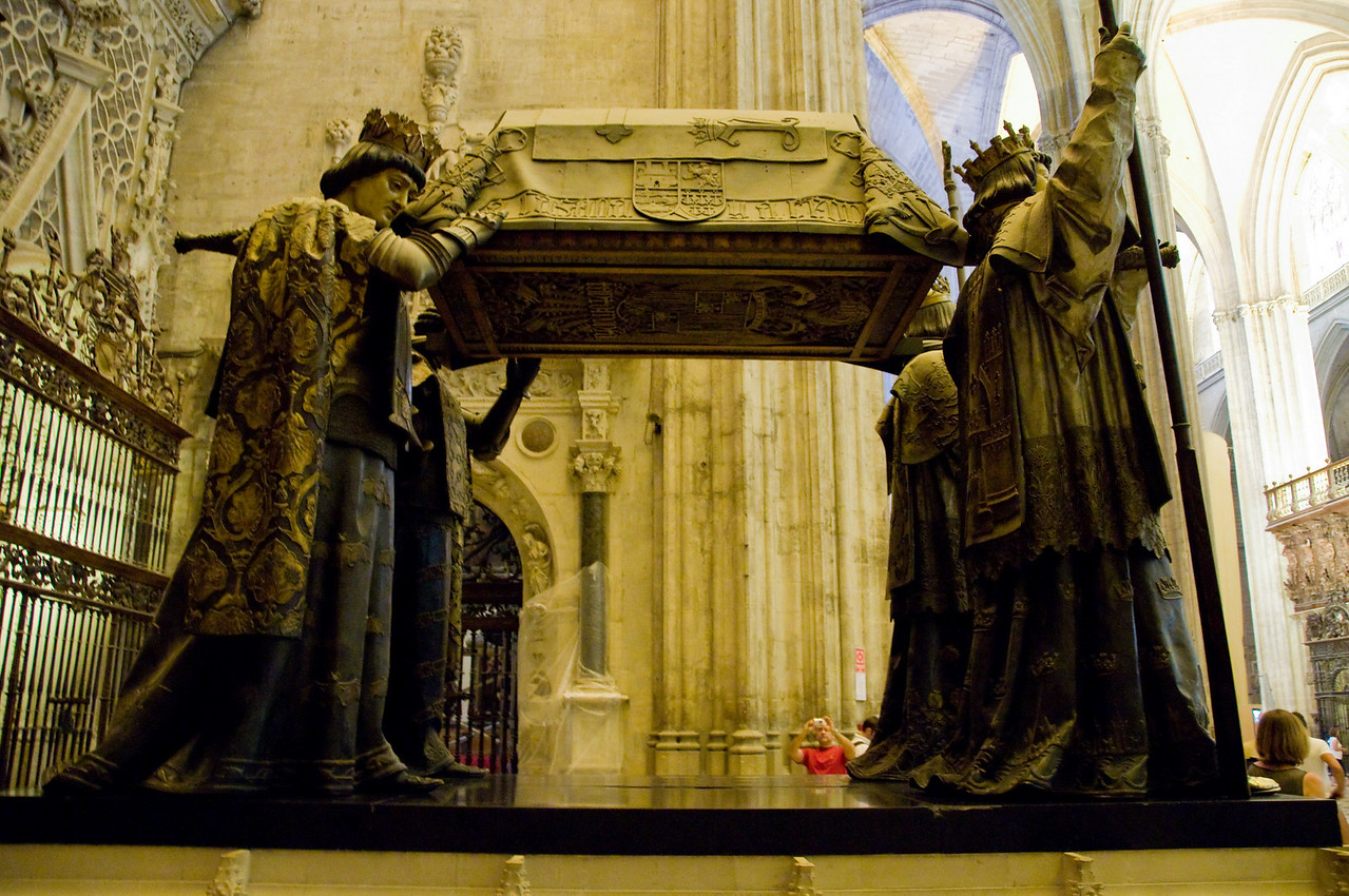 INside the cathedral of Sevilla : the tomb of Christopher Columbus.