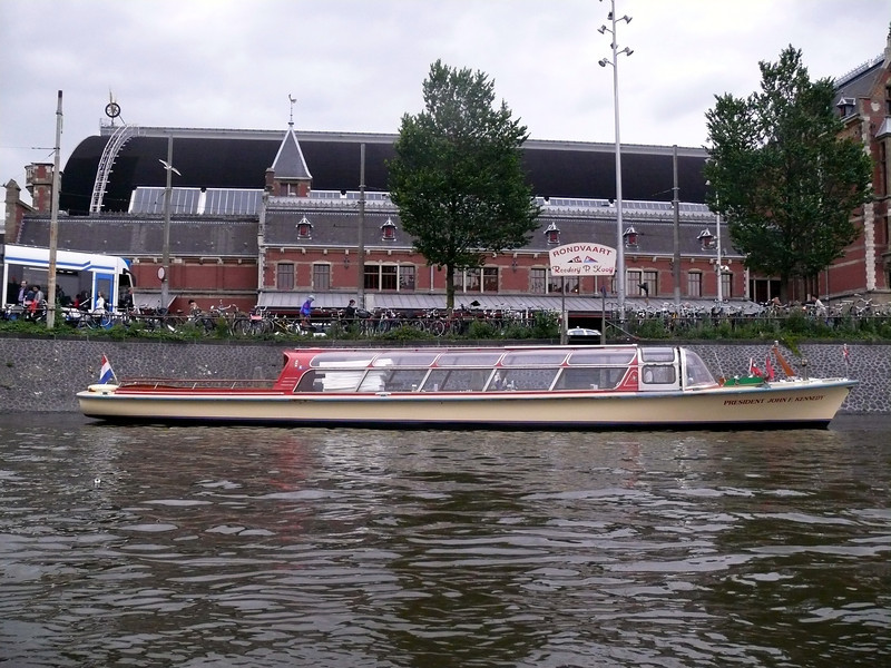 Canal boat at Centraal.