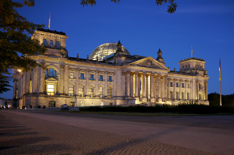The Reichstag Building by night.