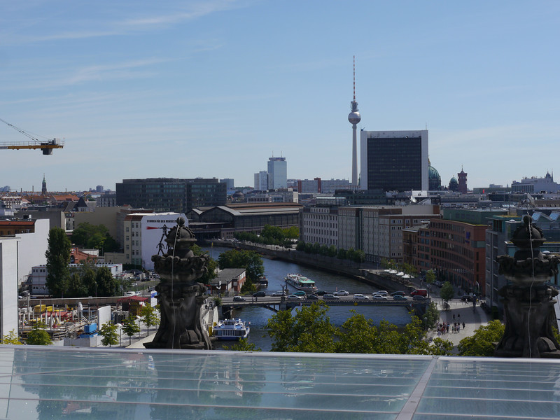 Looking into Berlin city centre from the roof of the Reichstag.
