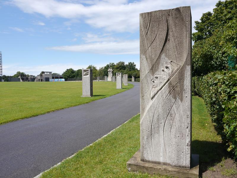Olympic Stadium. Each stone pillar represents German medal winners.