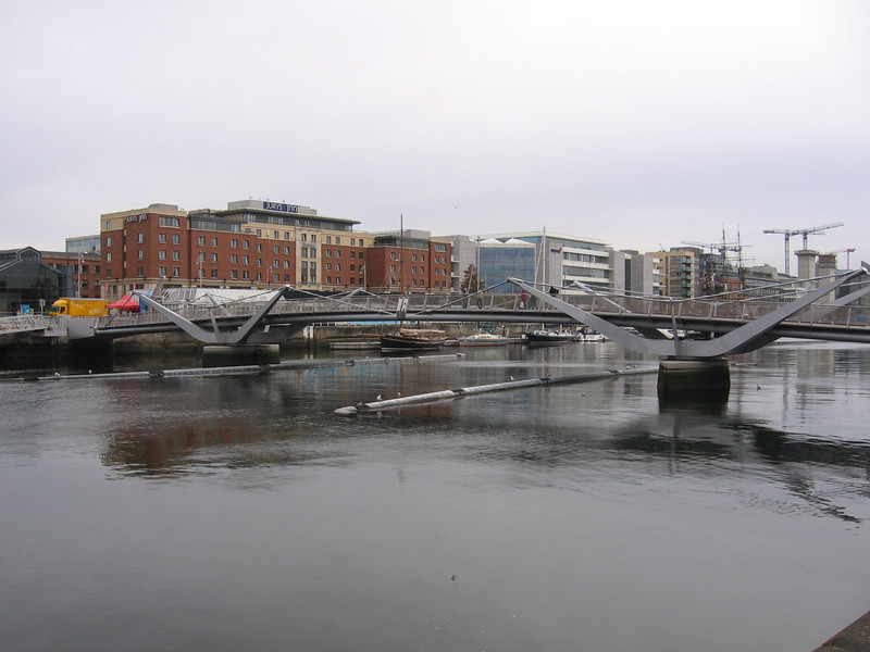 "One of Dublin's many bridges across the River Liffey, the Sean O' Casey Bridge, built in 2005.  More info <a href=""http://www.irish-architecture.com/buildings_ireland/dublin/bridges/seanocasey.html""> here. </a>"