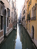 Looking down a narrow canal.